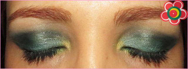 passo a passo maquiagem verde e dourado natal