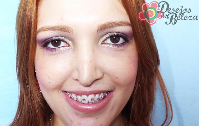 passo a passo - maquiagem:  roxo e dourado - imagem 1