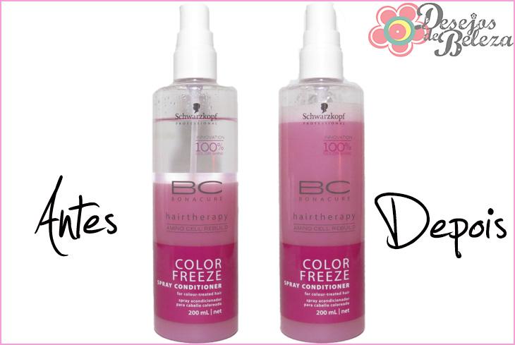 color  freeze bonacure spray condicionador protetor da cor antes e depois