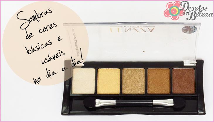 quinteto de sombras fenzza makeup detalhes