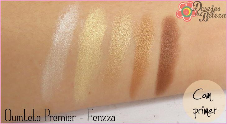 quinteto de sombras fenzza makeup swatch com primer