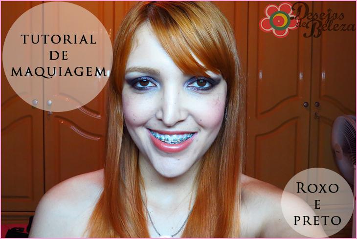 tutorial passo a passo de maquiagem roxo e preto post capa