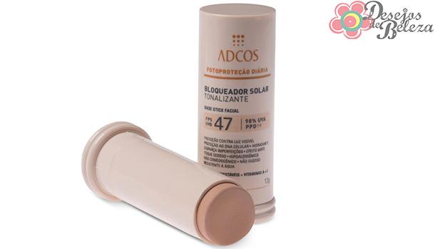 adcos bloqueador solar base stick fps 47 - desejos de beleza