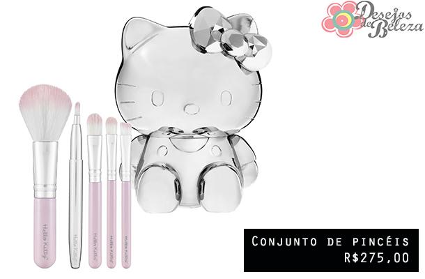 hello kitty beauty- conjunto de pincéis - desejos de beleza