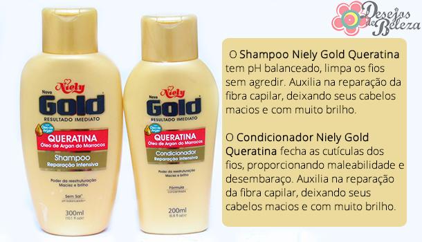 niely gold queratina e óleo de argan - o que a marca diz - desejos de beleza